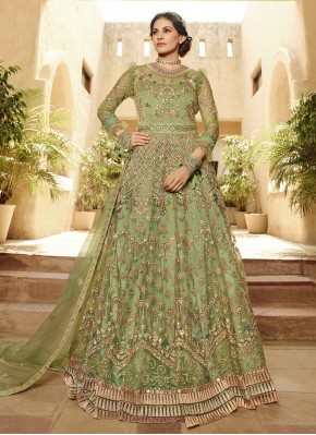 Majestic Green Net Salwar Kameez