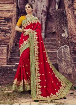 Majestic Maroon Embroidered Classic Designer Saree