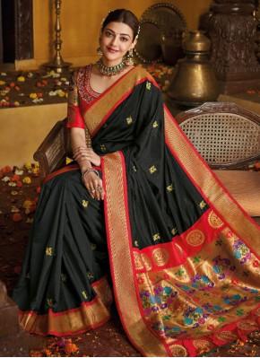 Majestic Silk Black Traditional Designer Saree