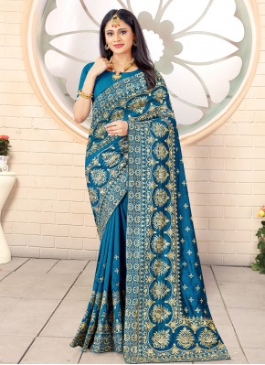 Majestic Stone Work Vichitra Silk Blue Designer Traditional Saree
