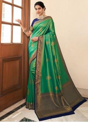 Majestic Weaving Green Bollywood Saree