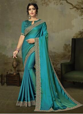 Majesty Blue Embroidered Silk Classic Saree