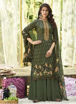 Majesty Green Cotton Designer Palazzo Suit