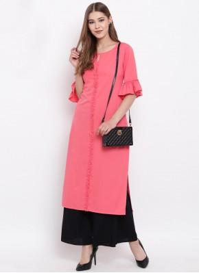Majesty Plain Pink Faux Crepe Party Wear Kurti