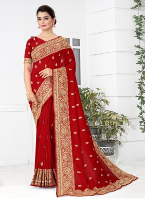 Majesty Red Patch Border Traditional Designer Saree