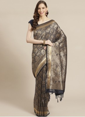 Majesty Silk Weaving Black Designer Traditional Saree
