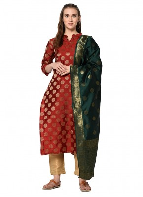 Maroon Abstract Print Salwar Suit