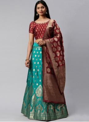 Maroon and Sea Green Banarasi Silk Lehenga Choli