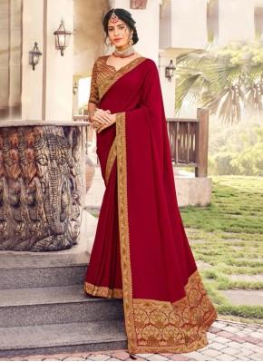 Maroon Art Silk Festival Designer Traditional Saree