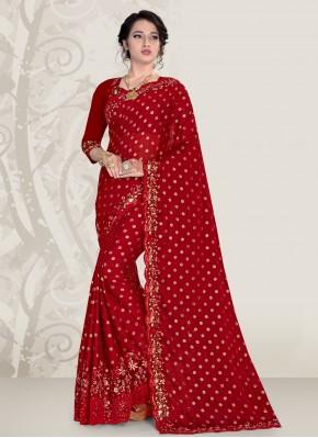 Maroon Banglori Silk Ceremonial Traditional Designer Saree