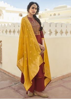 Maroon Cotton Designer Pakistani Suit