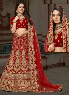 Maroon Embroidered Ceremonial Designer Lehenga Choli