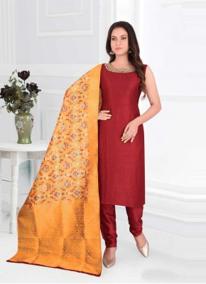 Maroon Embroidered Ceremonial Readymade Suit