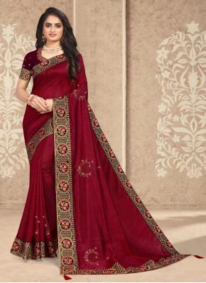 Maroon Embroidered Silk Designer Traditional Saree