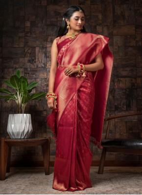 Maroon Fancy Ceremonial Designer Traditional Saree