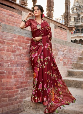Maroon Floral Print Printed Saree