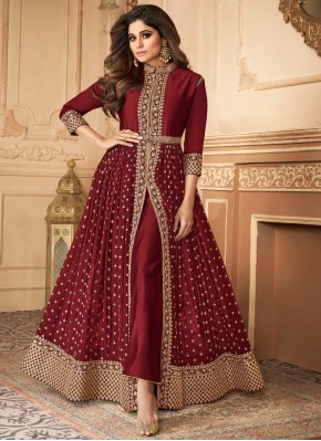 Maroon Georgette Embroidered Trendy Salwar Suit