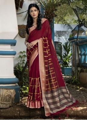 Maroon Linen Woven Traditional Saree