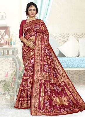 Maroon Mehndi Art Silk Designer Traditional Saree