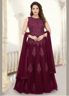 Maroon Net Readymade Anarkali Suit