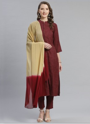 Maroon Party Viscose Pant Style Suit