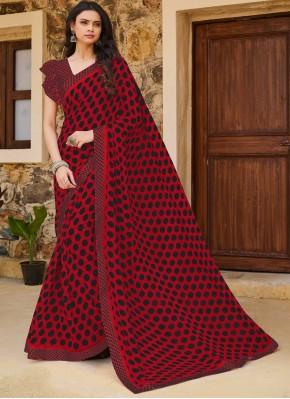 Maroon Print Casual Traditional Saree