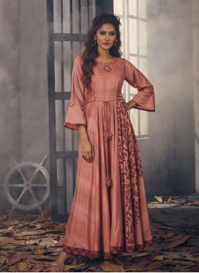 Maroon Printed Blended Cotton Designer Kurti