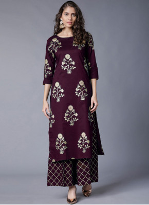 Maroon Rayon Festival Party Wear Kurti