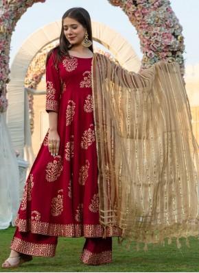Maroon Rayon Printed Bollywood Salwar Kameez