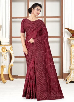 Maroon Resham Silk Traditional Saree
