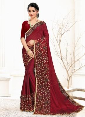 Maroon Sequins Banglori Silk Classic Designer Saree