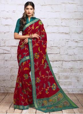 Maroon Silk Digital Print Classic Saree