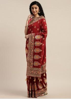 Maroon Silk Embroidered Designer Traditional Saree