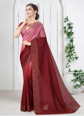 Maroon Silk Swarovski Shaded Saree