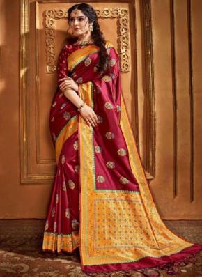 Maroon Silk Weaving Classic Saree