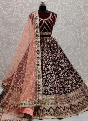 Maroon Velvet Embroidered Lehenga Choli