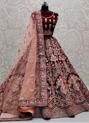 Maroon Velvet Sequins Lehenga Choli