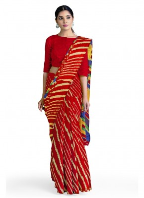 Marvelous Abstract Print Faux Georgette Red Casual Saree
