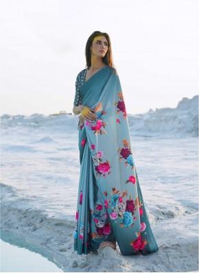 Marvelous Abstract Print Satin Multi Colour Casual Saree
