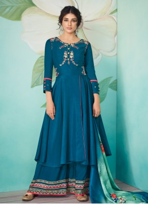 Marvelous Embroidered Muslin Trendy Salwar Suit