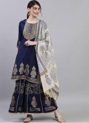 Marvelous Navy Blue Print Silk Readymade Suit