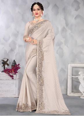 Marvelous Satin Grey Sequins Designer Saree