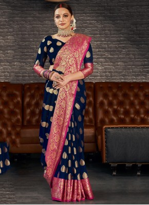 Marvelous Weaving Silk Black Contemporary Saree