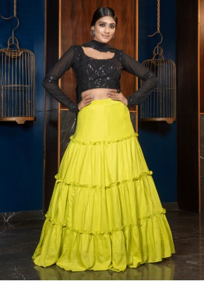 Maslin Cotton Designer Lehenga Choli in Green
