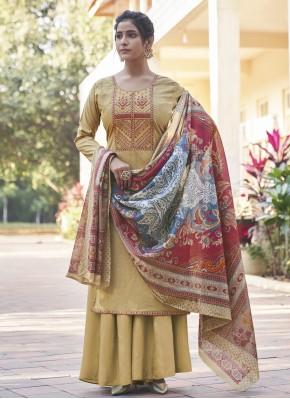 Masterly Cream Cotton Designer Pakistani Salwar Suit