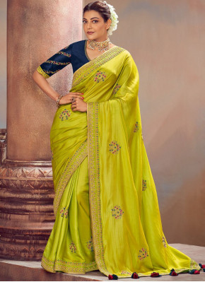 Masterly Embroidered Green Silk Designer Saree
