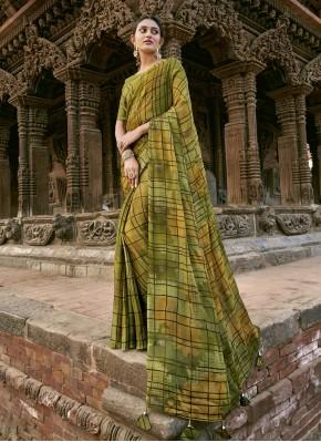 Masterly Faux Chiffon Printed Green Designer Saree