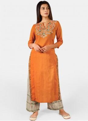 Masterly Khadi Orange Embroidered Party Wear Kurti