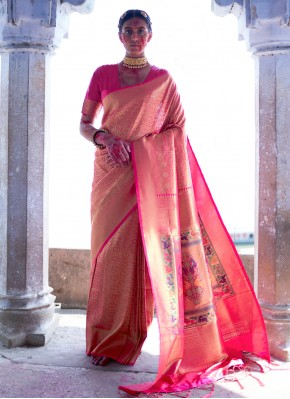 Masterly Pink Silk Designer Saree