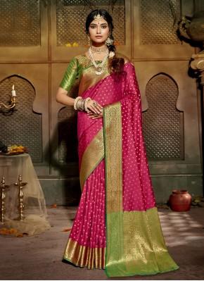 Masterly Silk Hot Pink Traditional Designer Saree
